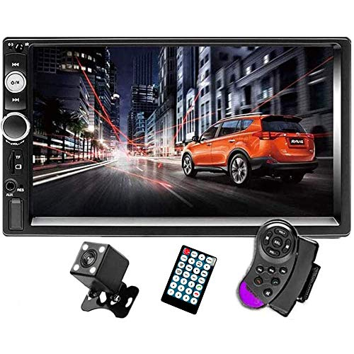 CAMECHO 7' Double Din Car Stereo Audio Bluetooth MP5 Player USB FM Multimedia Radio+ 4 LED Mini Backup Camera with Steering Wheel Remote Support Mobile Phone Synchronization (Used in Android /iOS)