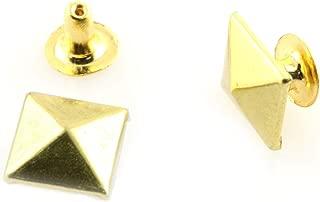 RuiLing 60 Sets 8mm Pyramid Square Base Spikes Punk Garment Rivet Cap Stud for Bag, Hat, Jeans, Shoe, Leather Chocker DIY Craft Decoration Gold