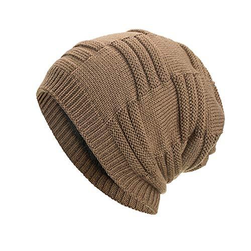 Gorros de Punto Mujeres Hombres Gorras Holgadas Cálidas Tejer Crochet Invierno Lana Tejer Esquí Beanie Gorras Sombrero Sombrero De Invierno
