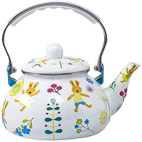 TQJ Teekanne Edelstahl Thermo Wasserkocher Email 2.4L Home Porzellan Induktion Kochergas Gas Allgemeiner Kaffeekanne Teekanne
