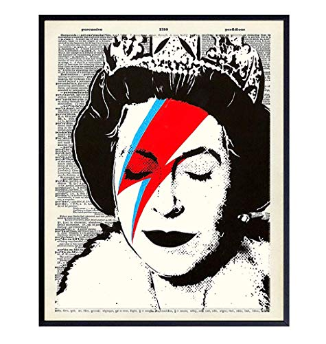 Banksy Queen Elizabeth Wall Art Poster - 8x10 Graffiti Art Print - Dictionary Art - Unique Gift for Urban Street Art Fans - Cool Room Decor for David Bowie Ziggy Stardust, British Royalty Fans