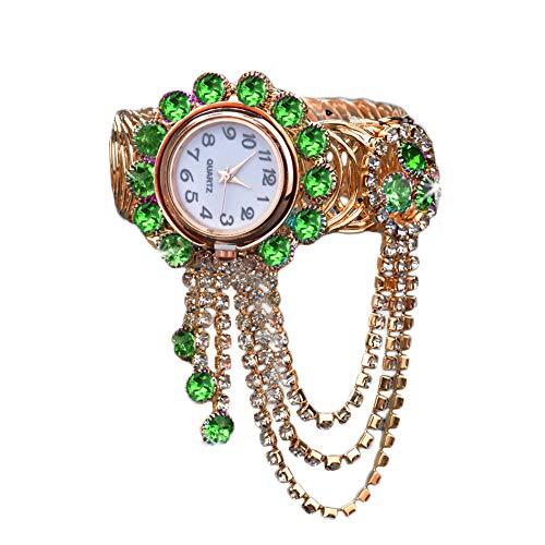 KingbeefLIU Reloj De Lujo para Mujer con Diamantes De Imitación, Borla, Esfera Redonda, Reloj De Pulsera Abierto De Cuarzo Analógico Azul