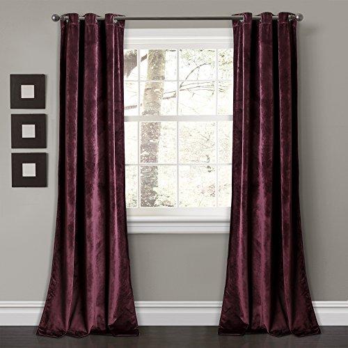 "Lush Decor Prima Velvet Curtains Color Block Room Darkening Window Panel Set for Living, Dining, Bedroom (Pair), 95"" L, Plum"