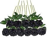 JUSTOYOU Bouquet di Fiori di Seta Rosa Artificiale Home Office Composizioni di Nozze Nero (10 PZ)