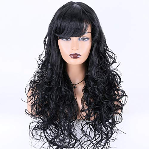 """Miss Diva Long Natural Wavy Wigs Synthetic Wigs With Bangs Replacement Wigs For Women 24"""" Replacement Wigs Natural Looking Heat Resistant Fiber"""