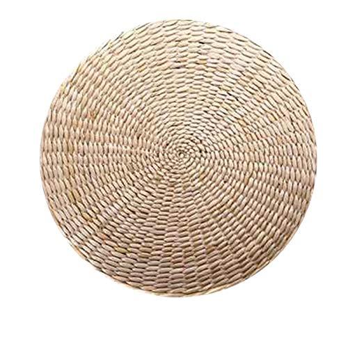 Beauneo CojíN de Asiento de Almohada de Piso Tatami, Alfombrilla Redonda Redonda Acolchada de Paja para Asiento Interior Al Aire Libre (11.8 Pulgadas X 4.2 Pulgadas)