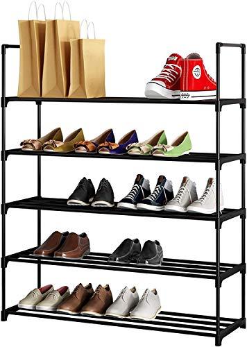 JEROAL 5 Tier Shoe Rack, Sneaker Rack Shoe and Boot Rack, Metal Shoe Stand Shoes Shelf Shoe Rack for Closet, Entryway, Bedroom, Black