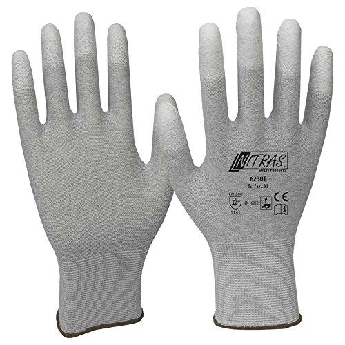 NITRAS ESD-Handschuhe 6230T, antistatisch, touchscreenfähig, teilbeschichtet auf Fingerkuppen - 12 Paar, Größe:7