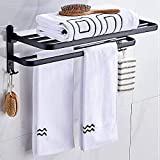 QNMD Handtuchhalter Faltbares Badezimmer Schwarzer Handtuchhalter Wandmontierter Aluminium-Anti-Rost-Handtuchhalter Küche/Hotel/ Duschraum Lagerregal Handtuchregal (Größe : 59M)-59M