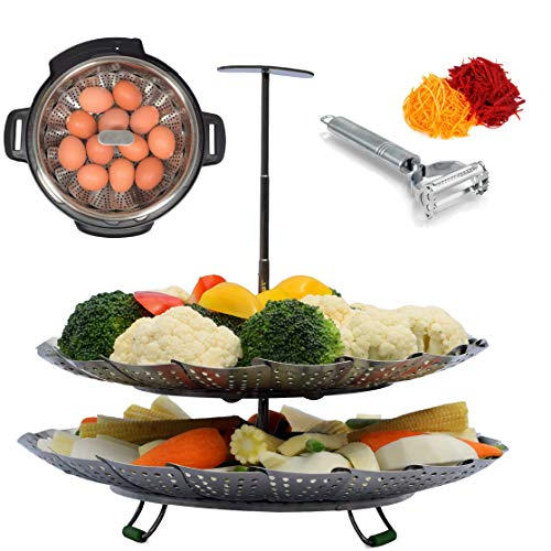 Kitchen Deluxe 2-Tier Vegetable Steamer Basket - With Extendable Handle - Fits Instant Pot Pressure Cooker 6 Qt & 8 Quart - 100% Stainless Steel - Accessories Include eBook + Peeler   For Instapot