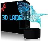 Lámpara de ilusión 3D LED luz nocturna de críquet regalos juguetes decoración tiburón – regalos perfectos para cumpleaños, festival de Navidad para bebés, adolescentes y amigos