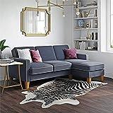 Novogratz DA036SEC-BL Bowen Sectional Sofa with Contrast Welting, Blue