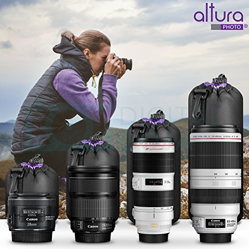 (4 Pack) Altura Photo Thick Protective Neoprene Pouch Set for DSLR Camera Lens (Canon, Nikon, Pentax, Sony, Tamron, Sigma, Panasonic, Fuji) - Includes: Small, Medium, Large and Extra Large Pouches