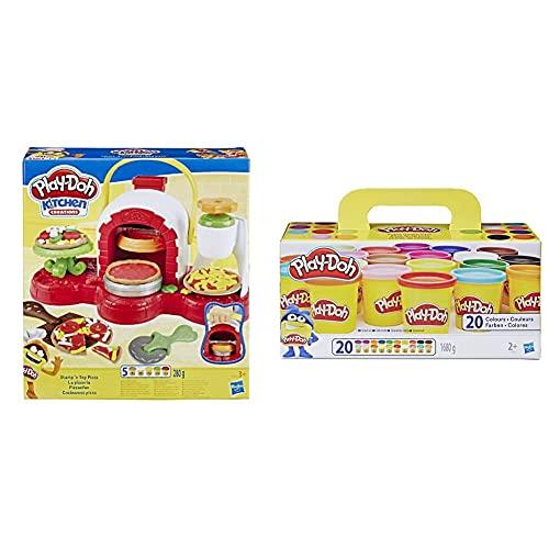 Hasbro Play-Doh La Pizzeria, Play Set con 5 Vasetti di Pasta da Modellare, Multicolore, E4576Eu4 & Play-Doh Confezione Super Color, Multicolore, 20 Vasetti, A7924Euc