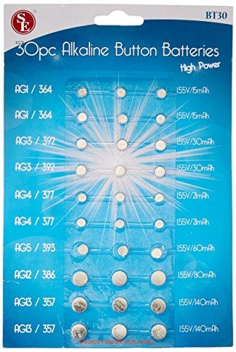 SE Assorted Alkaline Button Batteries (30 PC.) - BT30