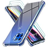 ivoler Funda para Motorola Moto G 5G Plus con 3 Unidades Cristal Templado, Carcasa Protectora Anti-Choque Transparente, Suave TPU Silicona Caso Delgada Anti-arañazos Case