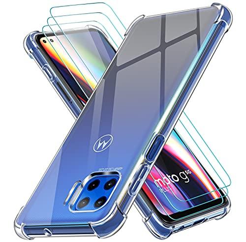 ivoler Klar Hülle für Motorola Moto G 5G Plus mit 3 Stück Panzerglas Schutzfolie, Dünne Weiche TPU Silikon Transparent Stoßfest Schutzhülle Durchsichtige Kratzfest Handyhülle Hülle