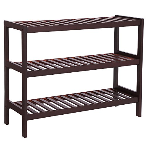 SONGMICS Bamboo Shoe Rack Bench, 3-Tier Shoe Organizer,Utility Storage Shelf Rack, Storage Shelf, 3-Shelf Shelving Unit,for Entryway Hallway Bathroom Living Room and Corridor Brown UBCB03C