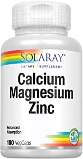 Solaray Calcium, Magnesium, Zinc | High Absorption with Glutamic Acid | Healthy Bones, Teeth, Nerve, Muscle, Heart & Immun...