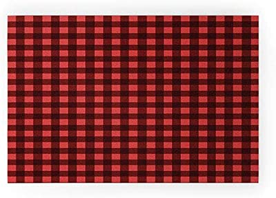 "Society6 Emanuela Carratoni Holiday Vichy Theme Welcome Mat, 36"" x 24"", Red"