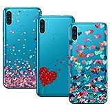 Young & Min Funda para Samsung Galaxy M11/Galaxy A11, (3 Pack) Transparente TPU Silicona Carcasa Delgado Antigolpes Resistente, Amor