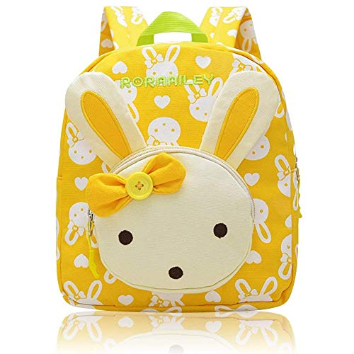 NORSENS Niedlich Bär Hase Tiere Kleiner Kinderrucksack Canvas Kindergartenrucksack Tasche Mädchen Jungen Babyrucksack Outdoor Schultasche Backpack für 1-6 Jahre Alte Baby Zum Wandern (Gelb)