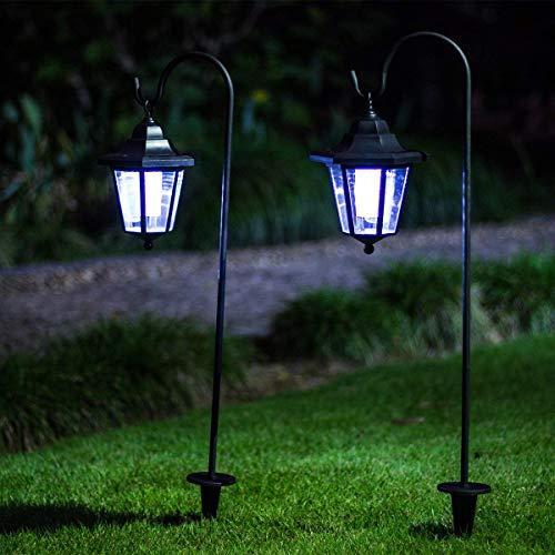 GIGALUMI 26 Inch Solar Lights Outdoor, Hanging Solar Coach Lantern with 2 Shepherd Hooks (2 Pack)