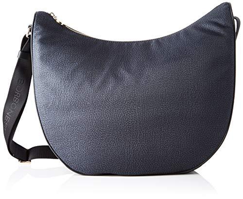 Borbonese Luna Bag Medium, Borsa a Spalla Donna, Nero (Nero), 35x38x15 cm (W x H x L)