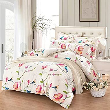 Wake In Cloud - Floral Duvet Cover Set, 100% Cotton Bedding, Botanical Flowers and Birds Pattern Printed, with Zipper Closure (3pcs, King Size)