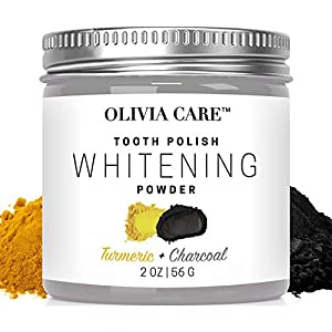Activated Charcoal Tooth Powder with Turmeric by Olivia Care – 100% Natural. Polish, Whiten & Strengthen Teeth. Fight against Cavities, Bad Breath, Stains & Gum Disease – Eliminate Bad Bacteria – 2 OZ