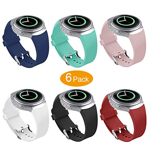 Bands Compatible Samsung Gear S2 Watch, NaHai Soft Silicone Replacement Sport Strap Wristbands Samsung Gear S2 Smart Watch, SM-R720/SM-R730 (Y-6 Pack #1)