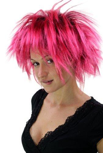 WIG ME UP ® - PW0078-P103PC41 Punkige 80er Faschingsperücke Schwarz-Pink Perücke