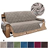 Turquoize Recliner Sofa Cover Velvet Recliner Sofa Slipcover Couch Covers for 3 Cushion Couch Quilted Recliner Cover Slip Resistant Sofa Furniture Cover with Straps Seat Width Up to 70'(Large, Taupe)