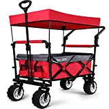 BEAU JARDIN Folding Push Wagon Cart with Canopy Collapsible Utility Camping Grocery Canvas Fabric Sturdy Portable Rolling Lightweight Buggies Outdoor Garden Sport Heavy Duty Shopping Wide Wheel Red