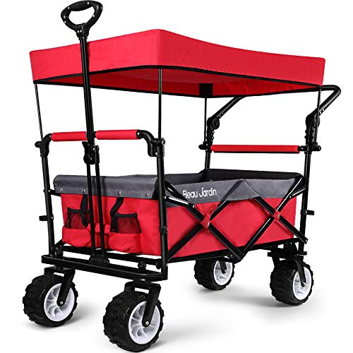 BEAU JARDIN Folding Push Wagon Cart With Canopy Collapsible Utility Camping...