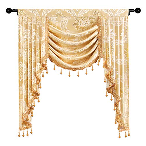 elkca Golden Jacquard Single Swag Waterfall Valance for Living Room Damask Curtain Valance for Bedroom (Damask-Golden, W39 Inch, 1 Panel)