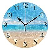 Chovy 掛け時計 置き時計 北欧 おしゃれ かわいい サイレント 連続秒針 壁掛け時計 インテリア 砂浜 ハワイ 海 自然風景 ブルー かわいい 部屋装飾 子供部屋 プレゼント