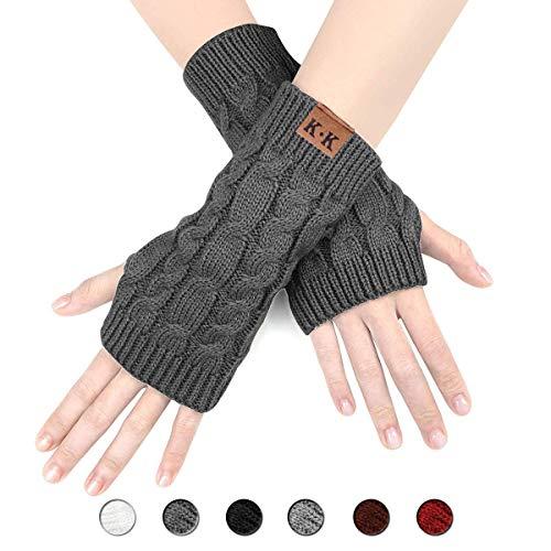 ECOMBOS Damen Fingerlose Handschuhe - Winter Armstulpen Handschuhe Damen Pulswärmer Strick Kurzer Gestrickte Halb Fingerlose Fäustlinge (Dunkelgrau)
