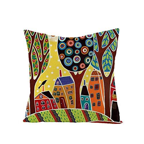 HNDXLHH Federe per Cuscini Divano Città Multicolore Decorativo Caso Federa in Cotone e Lino Copricuscini Decorativi Cerniera Invisibile Cuscini 45 x 45 cm