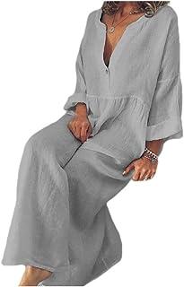 RkBaoye Women Pure Loose V-Neckline Plus Size Bohemia Beach Dress