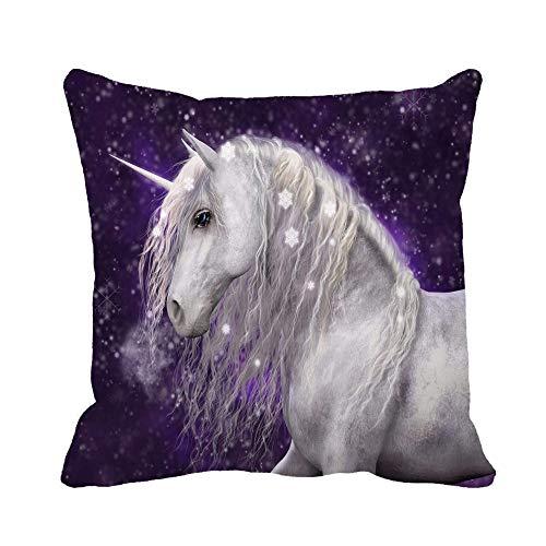N\A Funda de Almohada de Tiro Hermosa Melena Plateada de Unicornio Blanco Que Tiene Funda de Almohada de Nieve Brillante Funda de Almohada Cuadrada Decorativa para el hogar Funda de cojín