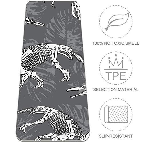 EZIOLY Esterilla de yoga con diseño de dinosaurios, de 6 mm, respetuosa con el medio ambiente, de goma antideslizante para todo tipo de ejercicio, yoga y pilates (72 x 24 x 6 mm de grosor)