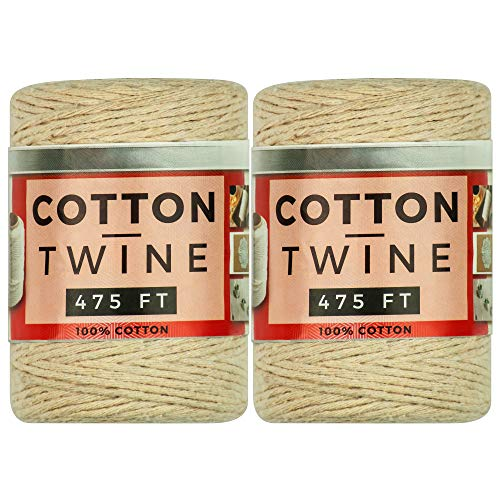 SteadMax 100% Natural Cotton Twine, Gift Wrapping Rope, Durable Arts and Craft String for Decorations, Bundling, and Gardening, Easy Dispensing, Total of 950 ft (2 Pack of 475 ft)