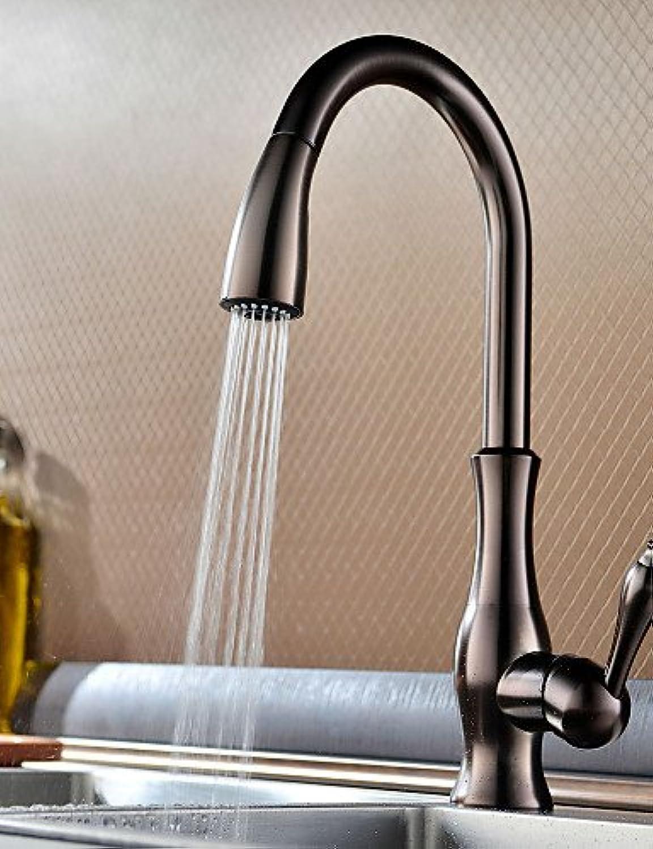 BBSLT-Küchenarmatur Zeitgenssisch Mit ausziehbarer Brause Messing Bronze mit lschliff