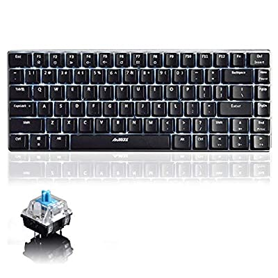 UrChoiceLtd® Mechanical Keyboard, Ajazz Geek AK33 Backlit Keyboard Usb Wired Gaming Keyboard Blue Switches Mouse Keyboard for Office, Typists and Play Games (Blue Switch, Black)