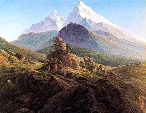 JH Lacrocon Caspar David Friedrich - Der Watzmann Leinwandbilder Reproduktionen Gerollte 90X70 cm - Geografische Landschaft Gemälde Gedruckt Wandkunst