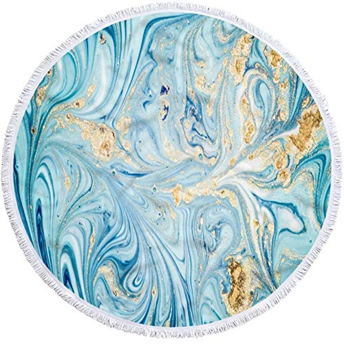 BMZGGIV Hermosamente Patrón Abstracto de mármol Rosa Dorado Toalla de Playa Redonda de Playa Toallas de Microfibra Absorbente con Toallas de Playa de Borla Alfombra al Aire Libre, Manta de Picnic,