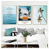 AdoDecor Póster de Paisaje Moderno Tropical Sea Palm Tree Bus Wall Art Inspirational Canvas Painting Picture Sala de Estar Decoración del hogar 50x72cmx3 sin Marco