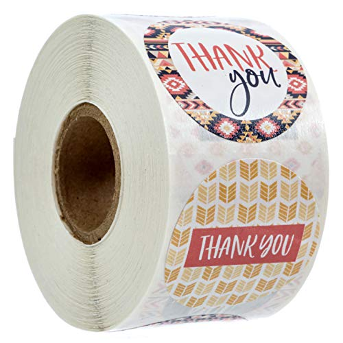 """Aztec Boho Thank You Stickers - 1.5"""" Circle Labels / 500 per Pack"""