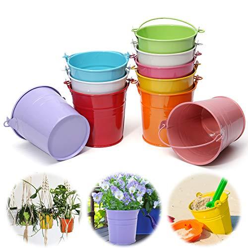 Jeteven 10 Pcs Mini Pot de Fleur en Fer Pot Plante Mural Seau Fleur Suspendu Déco Balcon Jardin 10 Couleurs Différentes 10cm